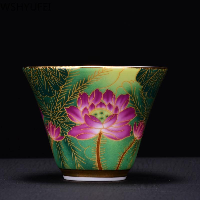 Jingdezhen ceramic enamel tea bowl Tea set small tea cup Travel portable tea set Office household drinking utensils WSHYUFEI