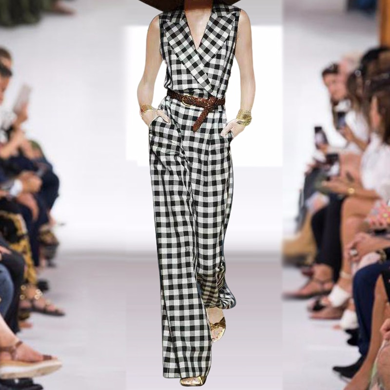 Rompers High Quality Summer New Fashion Women'S Party Elegant Vintage Office Casual Belt Plaid Trousers Lapel Vest Jumpsuits