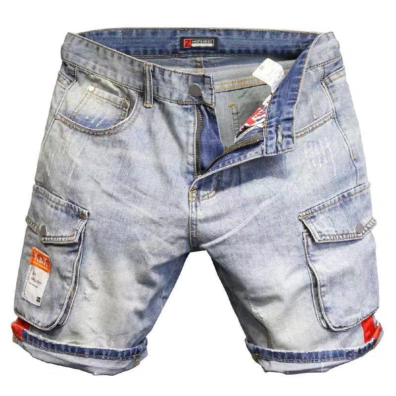 Discounts 2021new summer knee length men's slim joker breeches men's shorts elastic overalls Bull-puncher knickers denim shorts