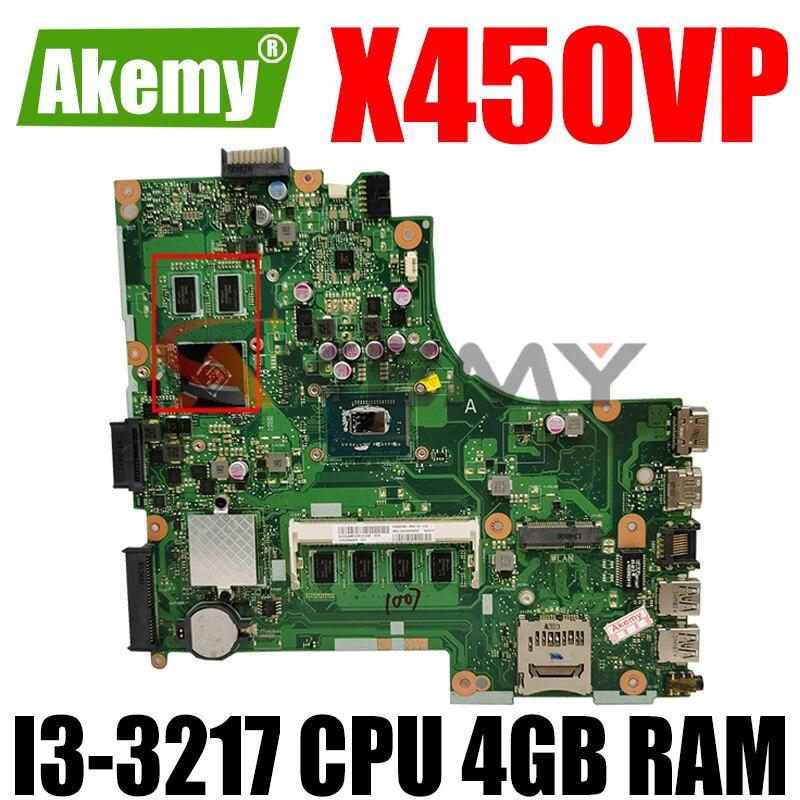 X450VP I3-3217 وحدة المعالجة المركزية 4GB RAM اللوحة REV 2.1 ل ASUS X450VP X450V X450 A450V الكمبيوتر المحمول اللوحة الرئيسية اختبار OK