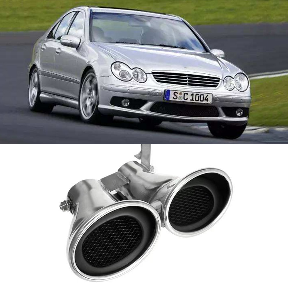 Car 1X2 Exhaust System Muffler Tip Tail Pipes Pipe Cover Rear glossy stainless steel For Mercedes-Benz C class W203 2000-2007