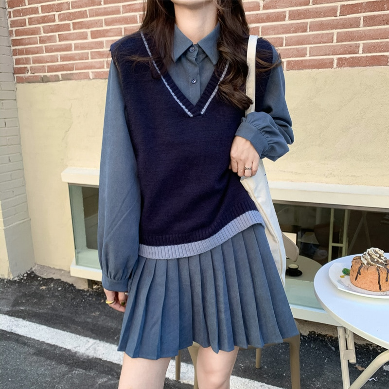 Women's Knitted Vest Suit Autumn 2021 New College Style Versatile Pullover V-neck Sleeveless Blue Fashion