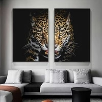 leopard face abstract canvas paintings on the wall art posters and prints animals moudlar pictures for living room cuadros decor