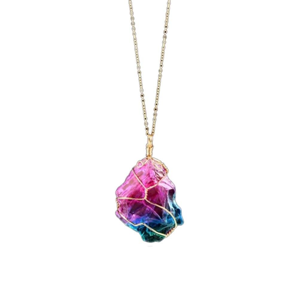 Nuevo collar con colgante de cristal de siete colores, collar de cadena Multicolor transparente con piedras naturales de cristal, collar geométrico