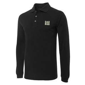 Dad BOD Father's Day Embroidery Long Sleeve Polo Shirts Embroidered Men's Shirts
