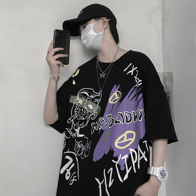 T-Shirt Hip Hop Men/Women Graffiti Couple Oversize Cotton Short Sleeve Casual Fashion Top Cool High Street Rap Style For Summer