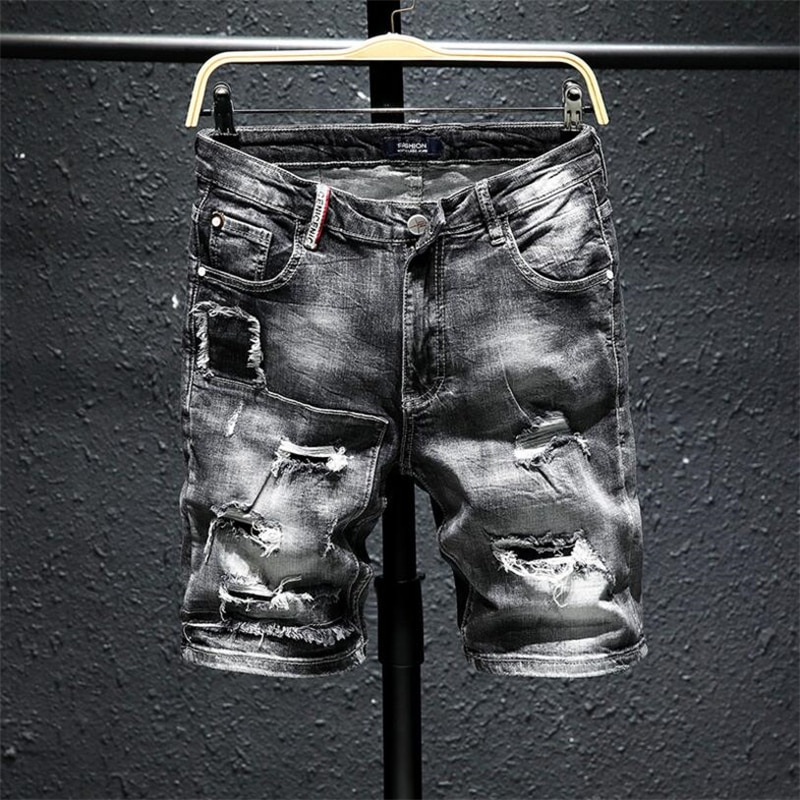 Мужские серые Рваные джинсовые шорты, новинка, Летние черные короткие джинсовые шорты с дырками, высококачественные мягкие хлопковые эласт...