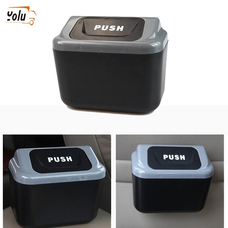 YOLU Car Trash Can Garbage Gray Bin Auto Organizer Storage Box Rubbish Gargage Holder for Lada Car A