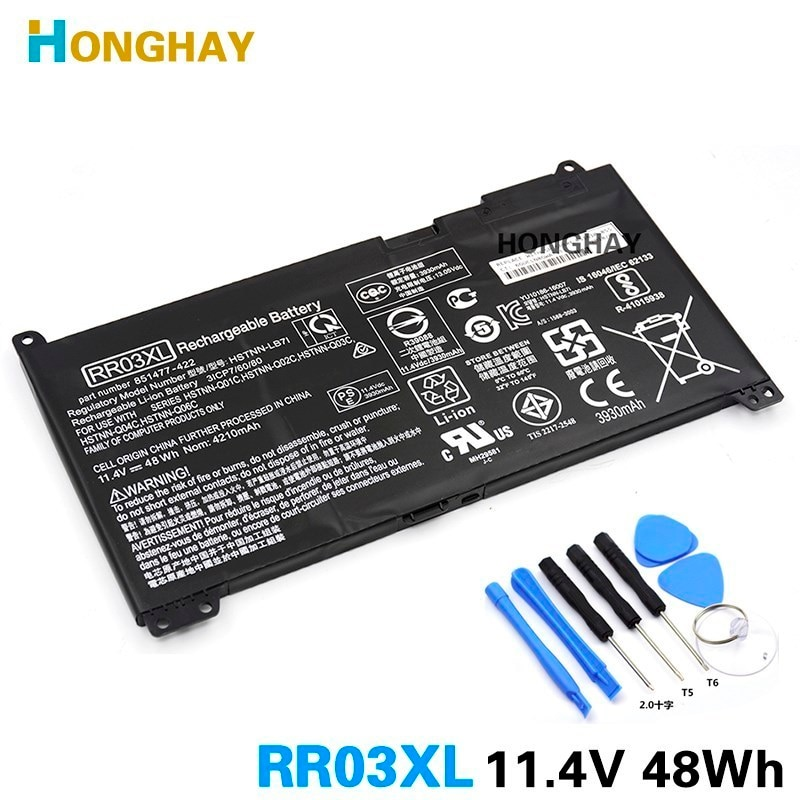 HONGHAY RR03XL محمول بطارية لجهاز HP ProBook 430 440 450 455 470 G4 HSTNN-LB7I 851477-422 851477-421 851610-855 HSTNN-Q01C Q02C