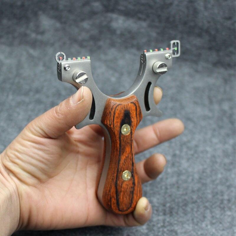 Твердая древесина плоская кожа Рогатка Высокая точность открытый конкурс нержавеющая сталь Рогатка стрельба Охота мощный