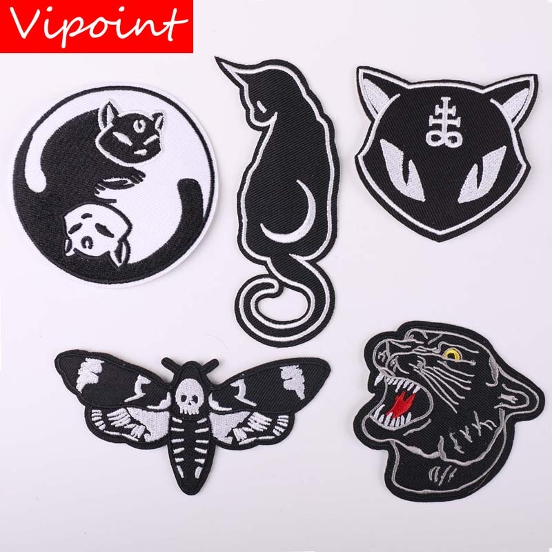 VIPOINT embroidery leopard cats moth patches animal black patches badges applique patches for clothing YX-280