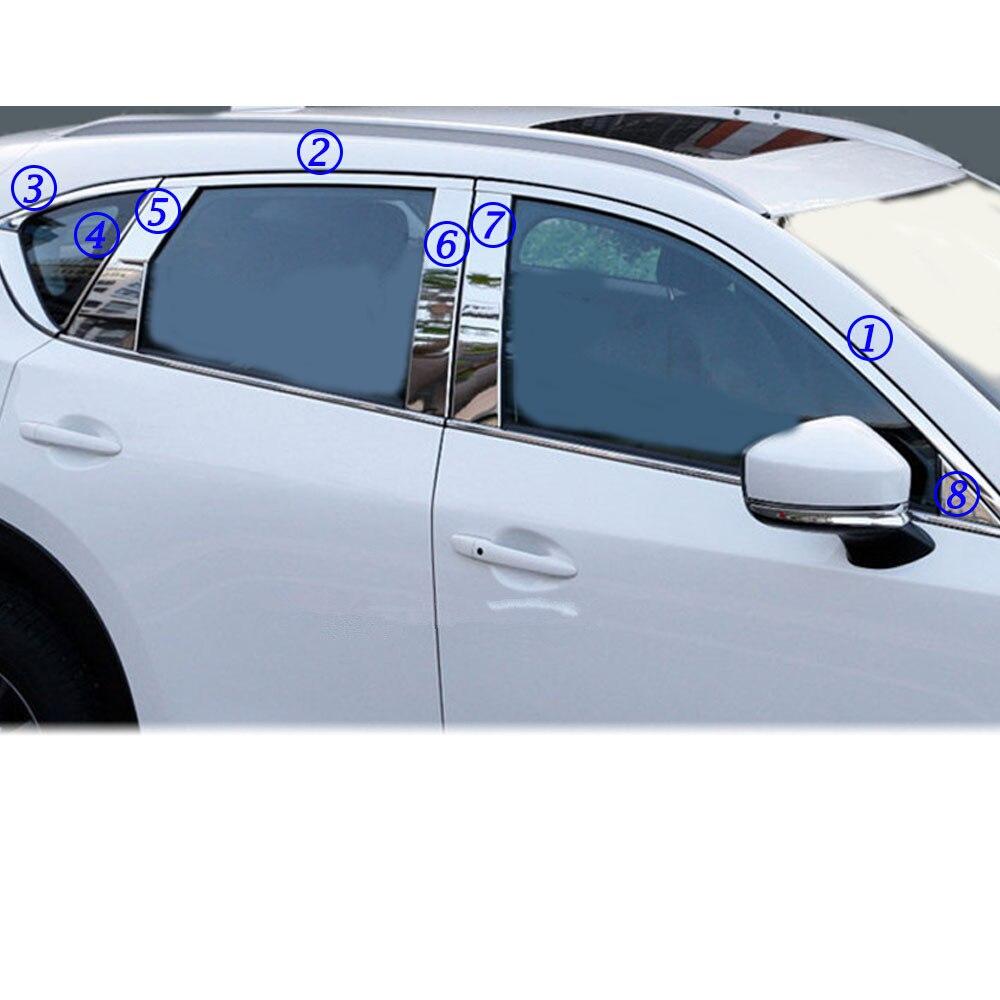 Car Body Glass Window Garnish Pillar Middle Strip Trim Frame Lamp Parts For Mazda CX-5 CX5 2nd Gen 2017 2018 2019 2020