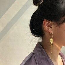 Pendientes de tuerca asimétricos con Círculo de moneda Vintage para mujer, Pendientes colgantes de moda, joyería Brincos