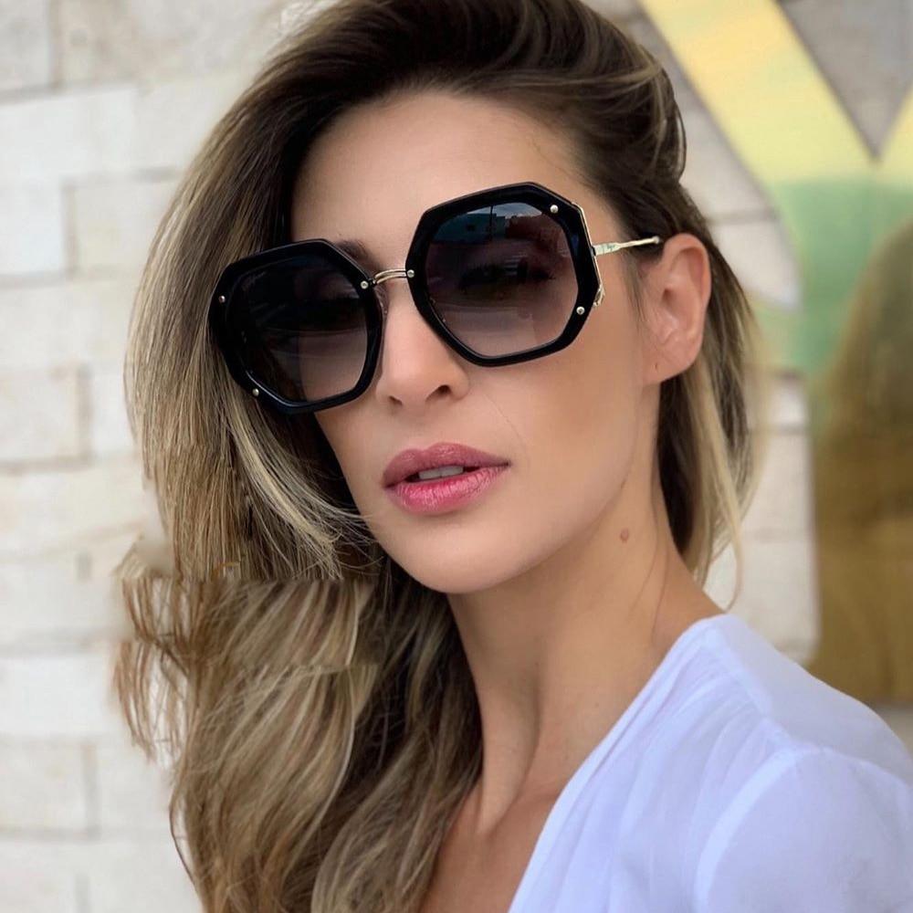 Qpeclou 2020 novo vintage polígono punk óculos de sol moda feminina grandes óculos de sol senhoras marca designer tons de sol