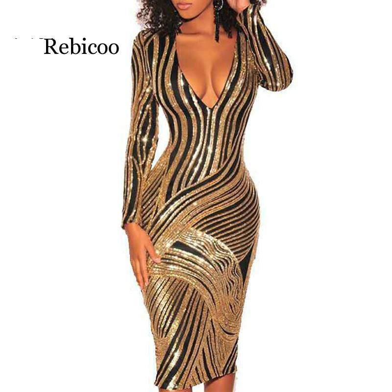 Moda vestido de festa sexy manga longa lantejoulas v pescoço bodycon vestido feminino outono inverno dourado preto vestidos