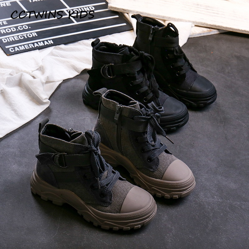 Cctwin أطفال أحذية 2019 الخريف موضة بنات عالية أفضل حذاء كاجوال بنين الرياضة أحذية رياضية سوداء للأطفال المدربين الرياضية FH2524