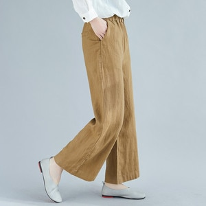 Spring Summer Cotton And Linen Wide-leg Pants Solid Color Large Size Female Solid Was Thin Casual Trousers Elastic Waist A757