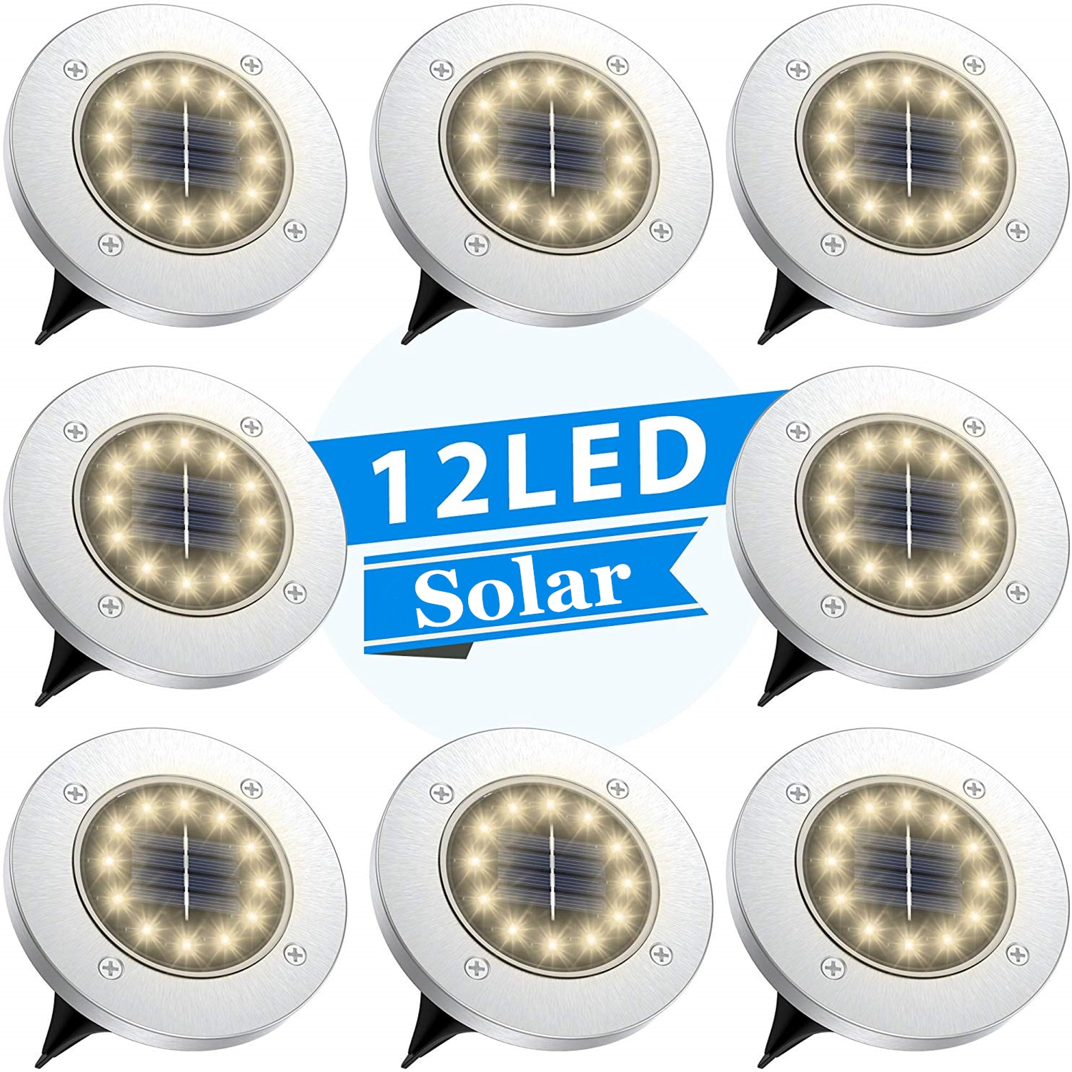 Solar Disk Lights 12 LED Ground Outdoor Waterproof Stainless Steel in for Walkway Pathway Lawn