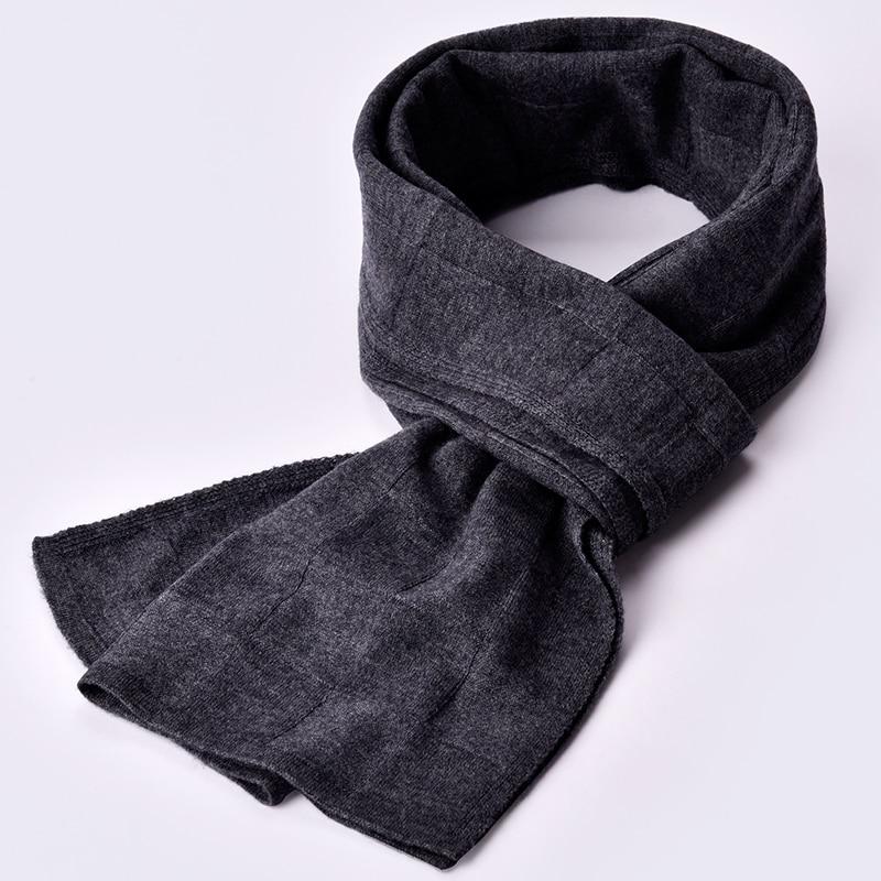 100% bufanda de lana Real cachemir hombres invierno hombre sólido negro clásico rayas bufandas largo cálido suave chal de lujo de marca lana envoltura