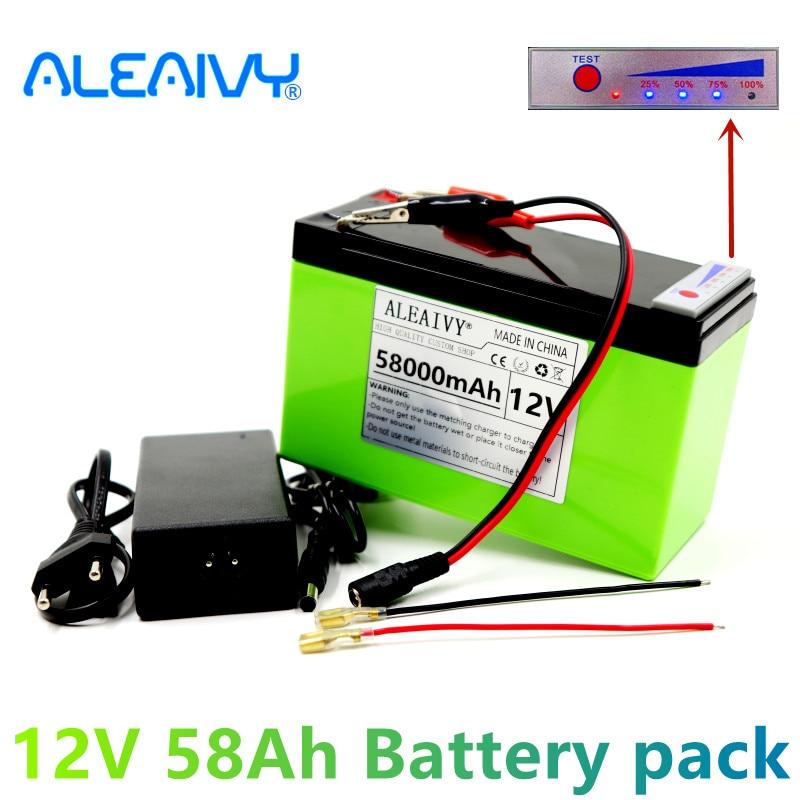 جديد 12 فولت 58Ah 18650 بطارية ليثيوم حزمة مناسبة للطاقة الشمسية وبطارية مركبة كهربية عرض الطاقة + شاحن 12.6 فولت 3A