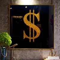 modern art golden dollar money black background poster and prints wall art picture canvas painting cuadros for living room