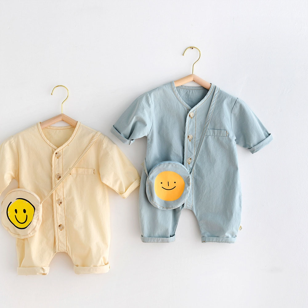 MILANCEL 2021 Autumn New Baby Clothes Cartoon Smile Toddler Rompers Boys Jumpsuits Infant Girls Outf