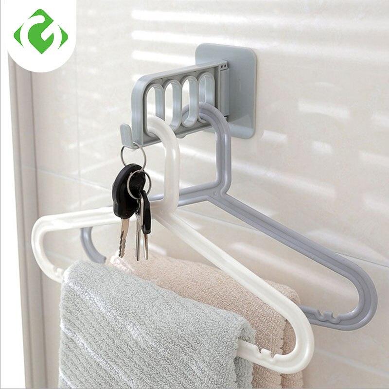 Gancho de ropa plegable para el hogar multi-función fuerte percha adhesiva Perchero de almacenamiento con gancho ganchos de llave ganchos de abrigo para la pared