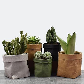 Mini Succulents Flower Pots Washable Kraft Paper Desktop Storage Bag Planter Pot Strong Tear Resistance Container Flowerpot