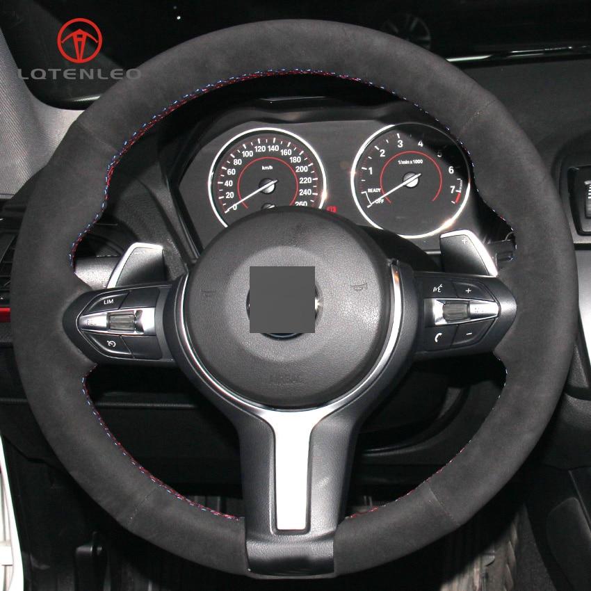 LQTENLEO Black Suede Car Steering Wheel Cover for BMW (M Sport) 1 Series F20 F21 M135i M140i M235i M240i X1 F48 X2 F39 X3 F25