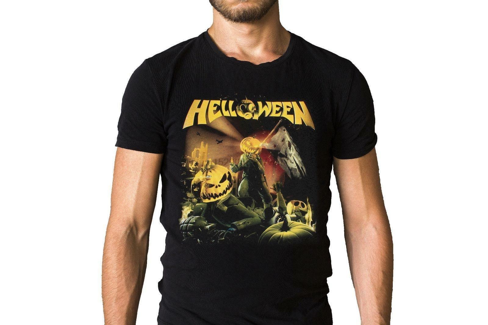 Helloween camiseta reta para fora tamanho xl mercadoria oficial
