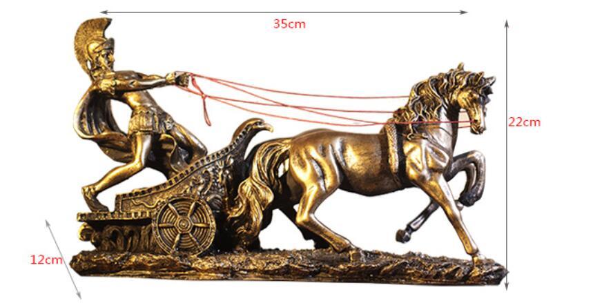 longer 35cm Roman armor warrior creative bar artefact knight's horse men high-grade decoration products figure Sculpture statue