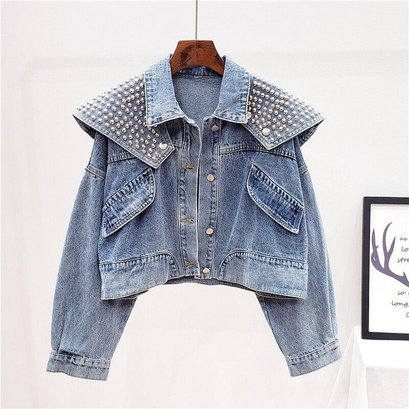 Moda coreana remache chal vaquero corto chaqueta mujer Vintage azul suelta Casual chaqueta vaquera de mangas largas prendas de vestir Mujer