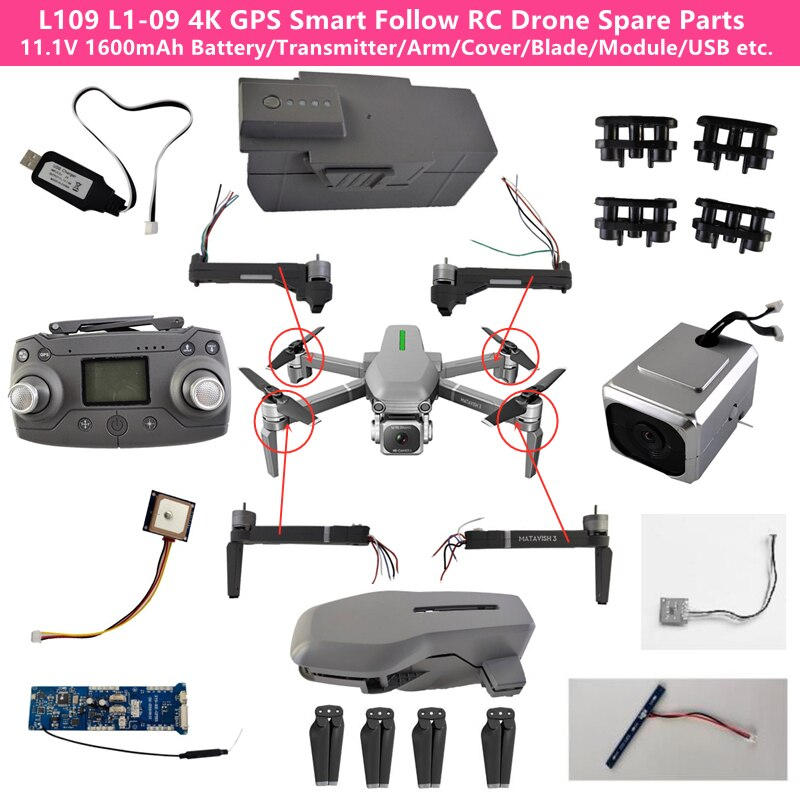 L109 L1-09 Brushless 4K HD RC Drone Spare Part Battery /Remote Controller/4K Camera/Receiver/Arm/Module/Propeller/USB Line/Light