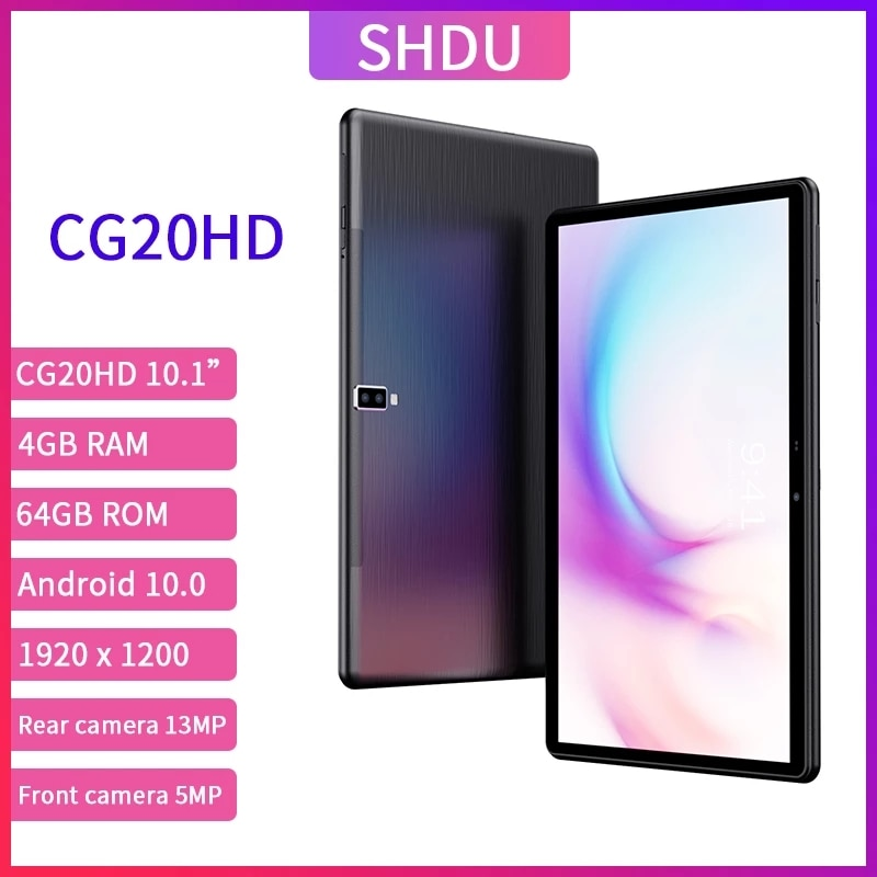 SHDU CG20HD 10.1 Inch Tablets Android 10.0 OS 3G 4GLTE Phone Call 4GB RAM 64GB ROM 1920×1200 GPS WIFI 5000mAh TYPE-C AI-speed-up