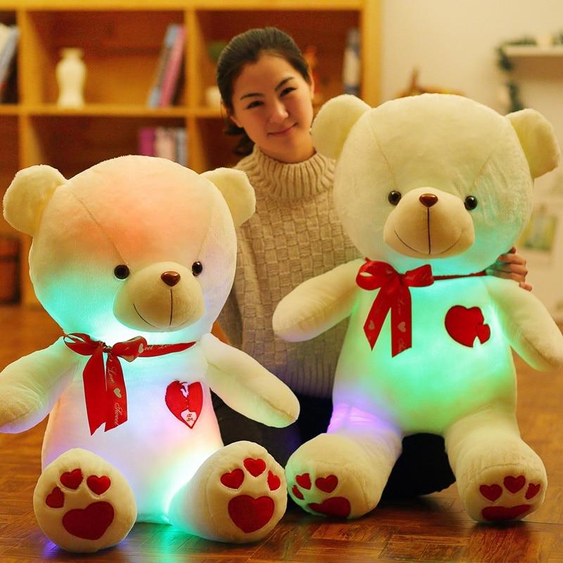 30cm creative light up led teddy bear stuffed animals plush toy colorful glowing teddy bear christmas gift for kids 1 pcs Light Up LED Bluetooth Music Lover Teddy Bear Stuffed Animals Plush Toy Colorful Glowing Cute Teddy Bear Christmas Gift fo