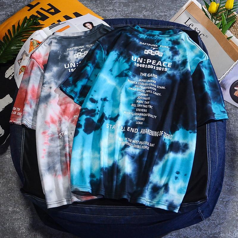 Harajuku, camiseta teñida con lazo para hombre, camiseta de verano 2020 de manga corta con cuello redondo, camisetas de gran tamaño, camisetas de moda para hombre, S-3XL LS1