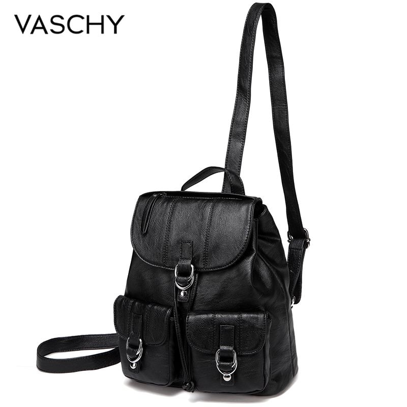 VASCHY кожаный мини-рюкзак для женщин, повседневный мягкий женский рюкзак, кошелек, роскошный рюкзак для девочек, рюкзак на шнурке