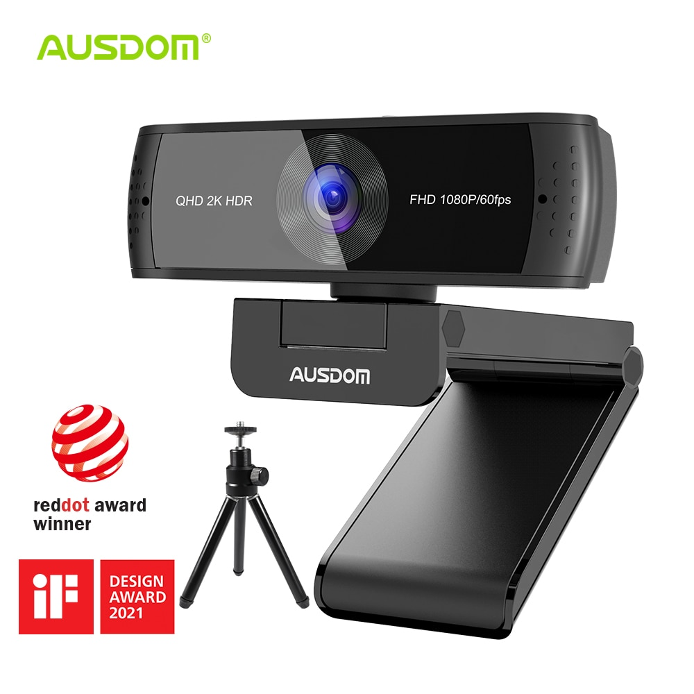 AUSDOM AW651 QHD 2K HDR 30FPS Webcam Autofocus 1080P 60FPS Web Camera With Noise-cancelling Mics and Free Privacy Cover for Live