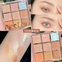 miss lara 9 color glitter matte eyeshadow palette makeup glitter pigment smoky eyeshadow palette waterproof cosmetics