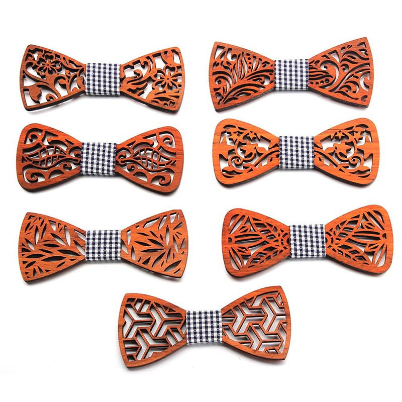 New Design 3D Wooden Tie Pocket Square Cufflinks Fashion Wood Bow wedding Handmade Hollow Butterflies Ties