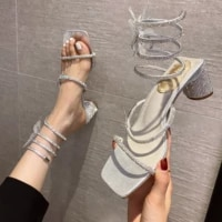 2021 summer new sexy luxury snake pattern winding thick heel rhinestone bow sandals high heels banquet womens shoes