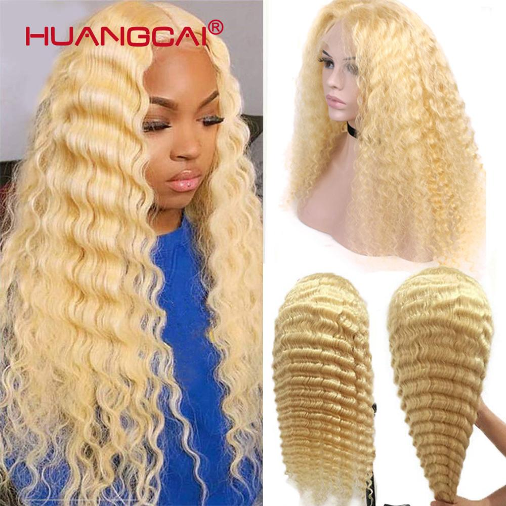 28inch Middle Part 613 Blonde Lace Part Human Hair Wig PrePlucked Brazilian Deep Wave 13x1 Lace Wigs