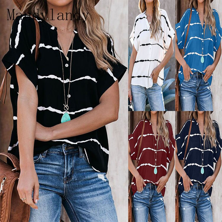 Mandylandy-Camiseta holgada a rayas para mujer, ropa informal de manga corta con...