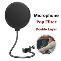 universal studio condenser microphone double layer pop filter flexible wind screen mic sound filter for bm 800 k669 microphone