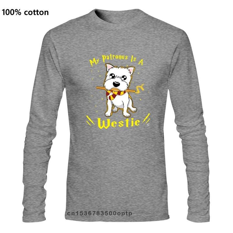 Hommes Mon Patronus Est UN Westie Chien T-Shirts Hauts Tee Shirt Cadeau drôle coton
