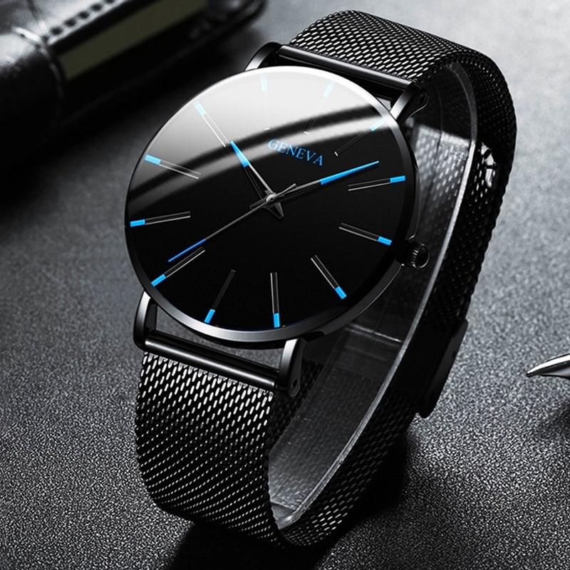 Minimalist Men Fashion Ultra Thin Watches Simple Men Business Stainless Steel Mesh Belt Quartz Watch Relogio Masculino