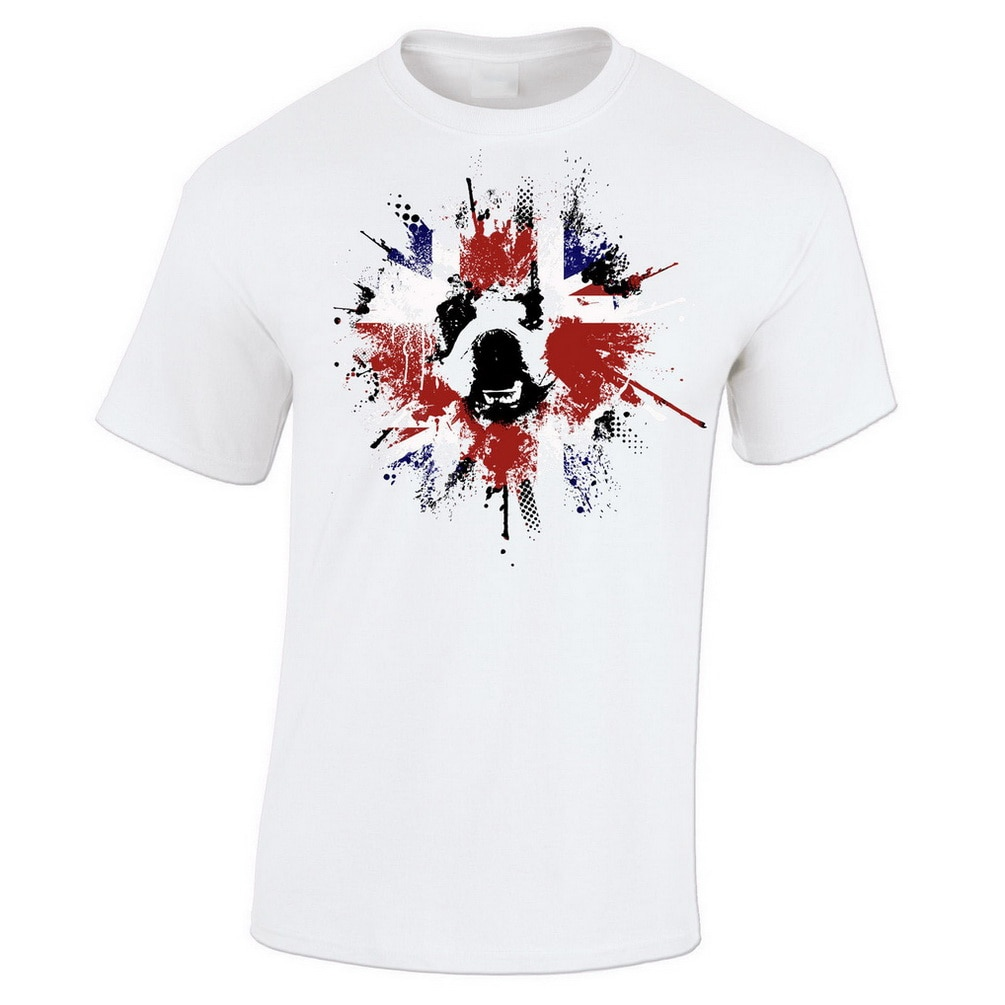 Camiseta de la bandera de la Unión del Reino Unido, camiseta patriótica de Splat Paint Bulldog británico, diseño clásico personalizado