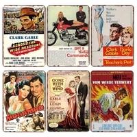 Plaque de signe en metal retro  Clark Gable  decoration de Bar  Pub  Plaque de Shabby Chic  Vintage  decoration de maison  affiche de film