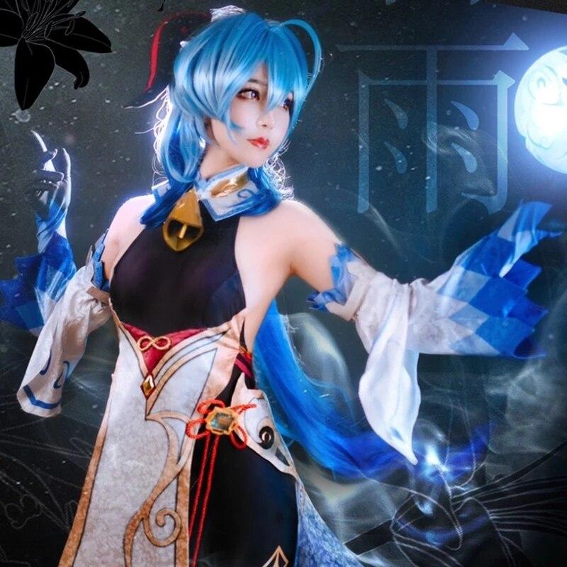 Fanyu-traje de Cosplay de la isla de Kyushu impacto traje Sexy de secretaria de Anime guantes decoración y
