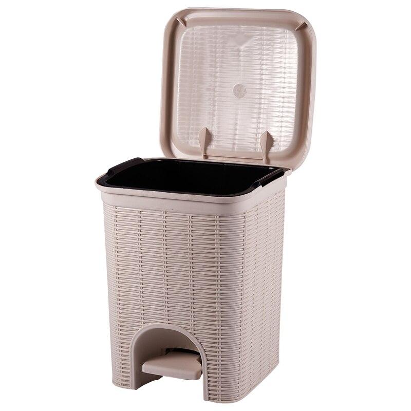 PP de ratán de basura puede presionar tipo de basura cubo de basura de plástico cesto cocina sala de basura de almacenamiento Bin puede-blanco